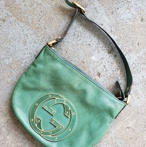GUCCI Italy Tom Ford era teal leather purse RARE